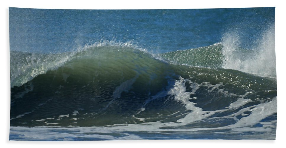 Beaches Bath Sheet featuring the photograph The Windblown Wave by Ernie Echols