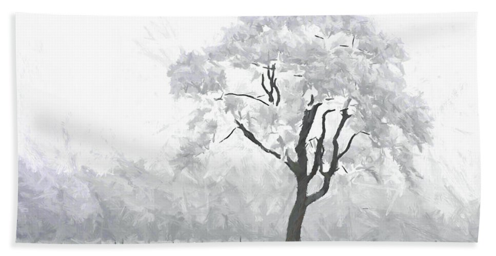 Winter Embrace Silent Silence Tree Snow Frost Cold Ice Painting Expressionism Nature Hand Towel featuring the painting The Winter's Embrace by Steve K
