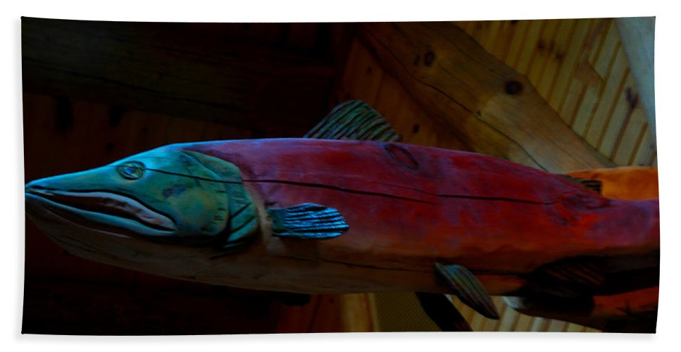 Usa Bath Sheet featuring the photograph The Wooden Rainbow Trout by LeeAnn McLaneGoetz McLaneGoetzStudioLLCcom
