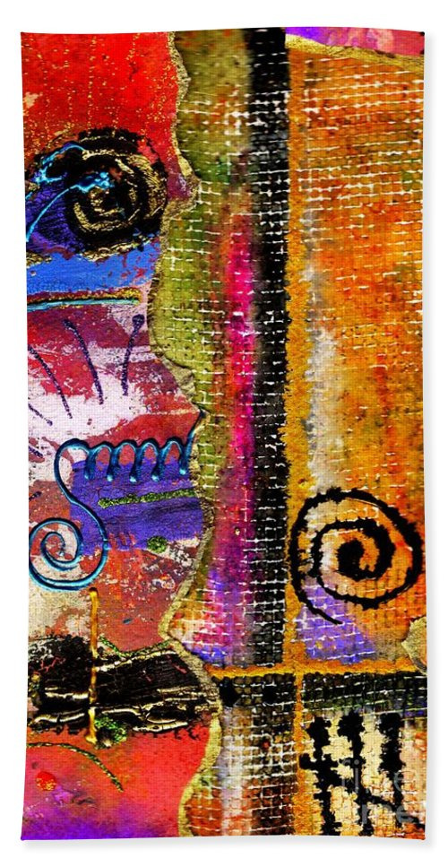 Woven Bath Sheet featuring the mixed media The Woven Stitch Cross Dance by Angela L Walker