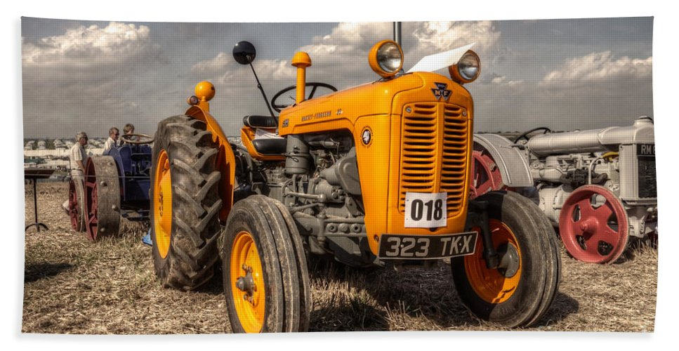 Tractor Bath Sheet featuring the photograph The Yellow 35 by Rob Hawkins