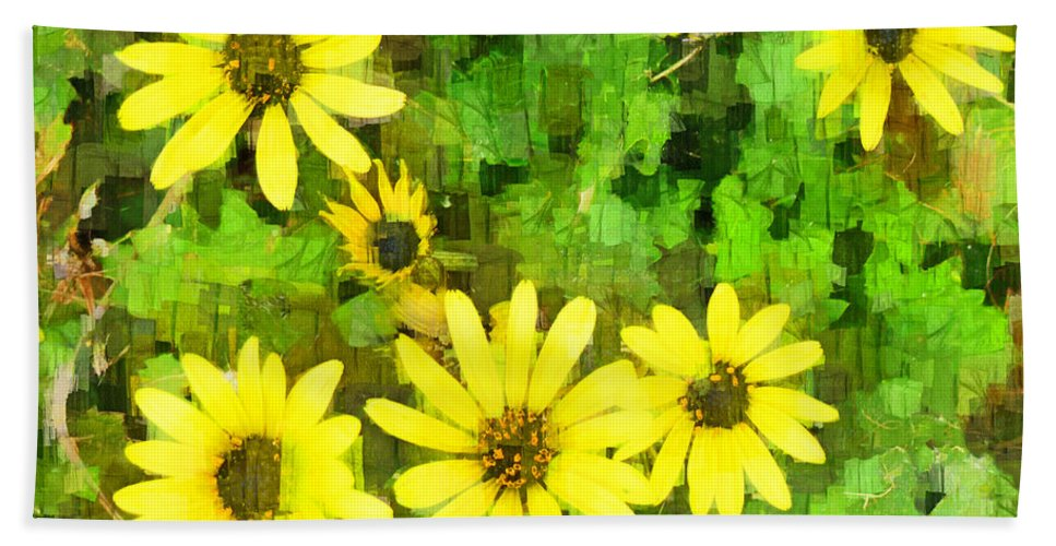 Yellow Bath Sheet featuring the digital art The Yellow Daisies by Steve Taylor