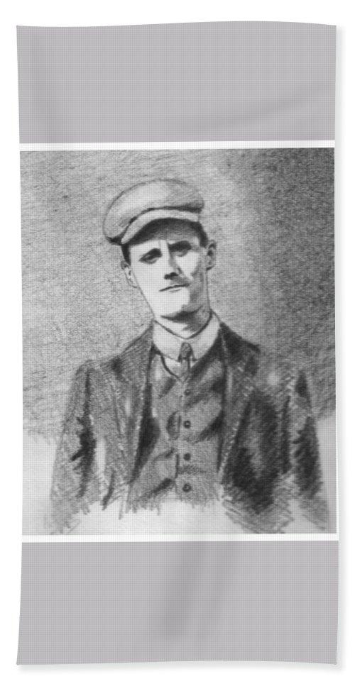 Pencil Bath Sheet featuring the drawing The Young James Joyce by John Nolan