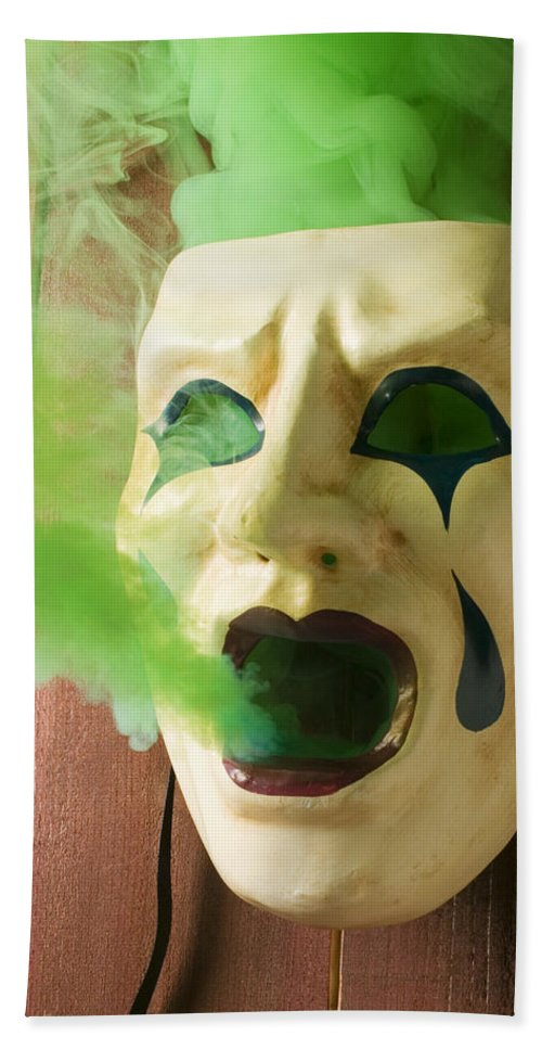 Theater Mask Spewing Green Smoke Hand Towel For Sale By Garry Gay