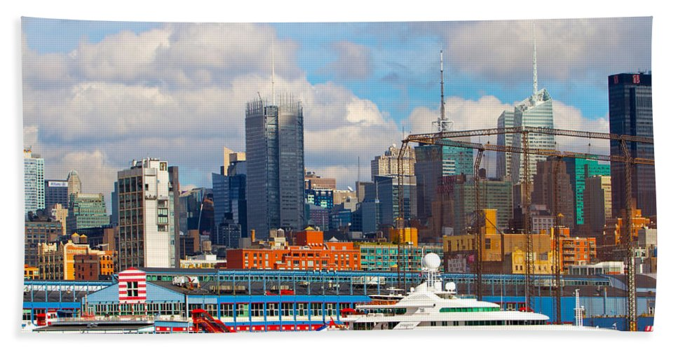New York City Yacht View Water Scenic Bath Sheet featuring the photograph There's My Yacht by Alice Gipson