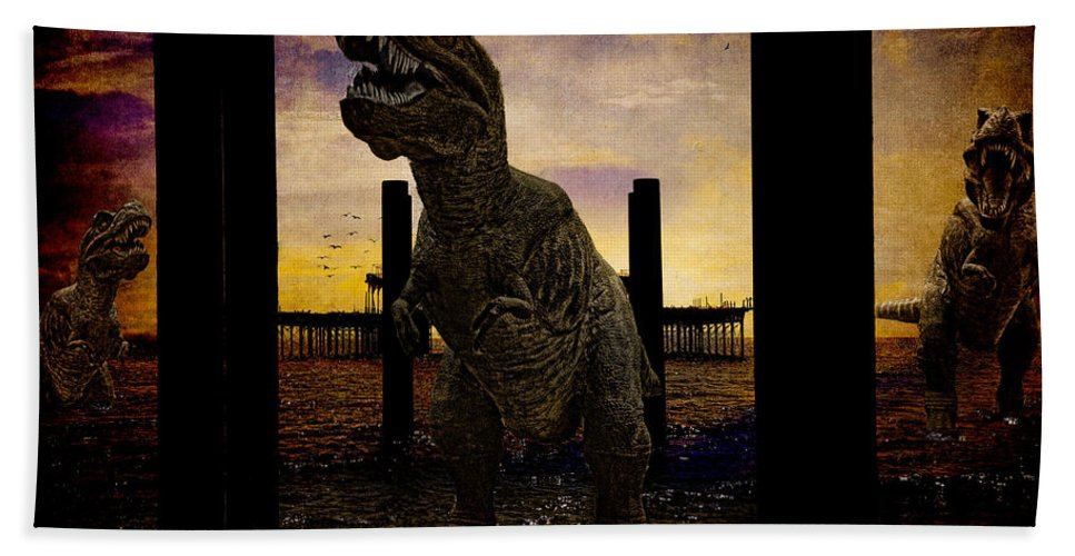 Tyrannosaur Hand Towel featuring the photograph There's Probably No Bathing In Brighton Today by Chris Lord
