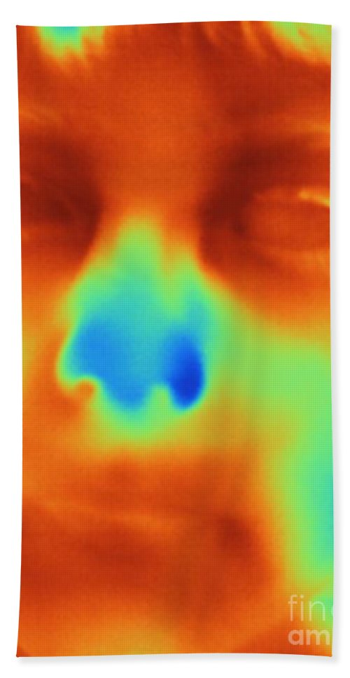 Thermogram Hand Towel featuring the photograph Thermogram Of A Boys Face by Ted Kinsman