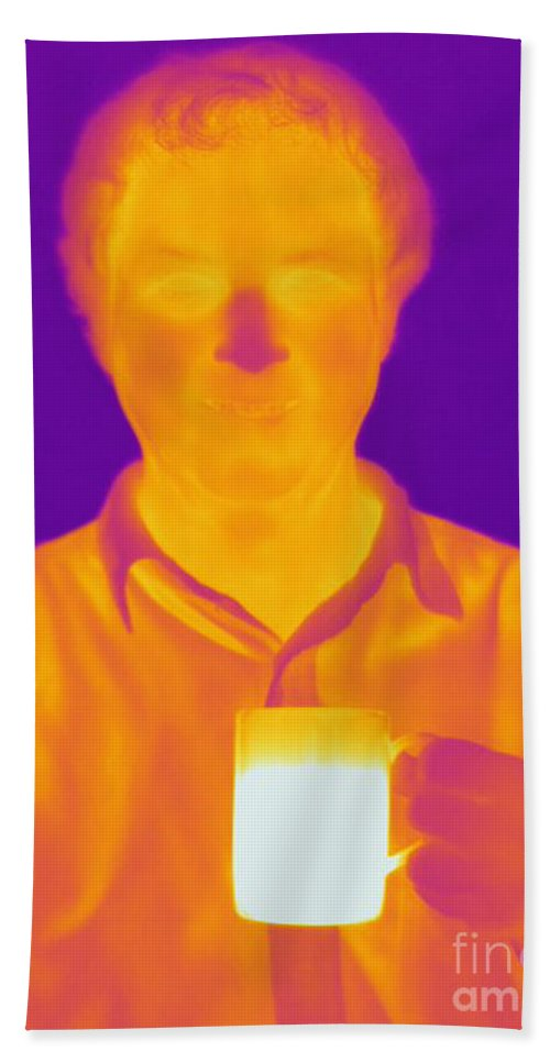 Thermogram Hand Towel featuring the photograph Thermogram Of A Man by Ted Kinsman