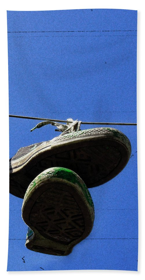 Sneakers Hand Towel featuring the photograph These Old Things Blue by Kristie Bonnewell