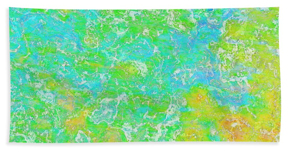 Abstract Bath Sheet featuring the digital art Thick Paint II by Debbie Portwood