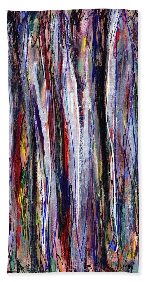 Abstract Bath Sheet featuring the painting Thicket In Ice by Lynne Taetzsch