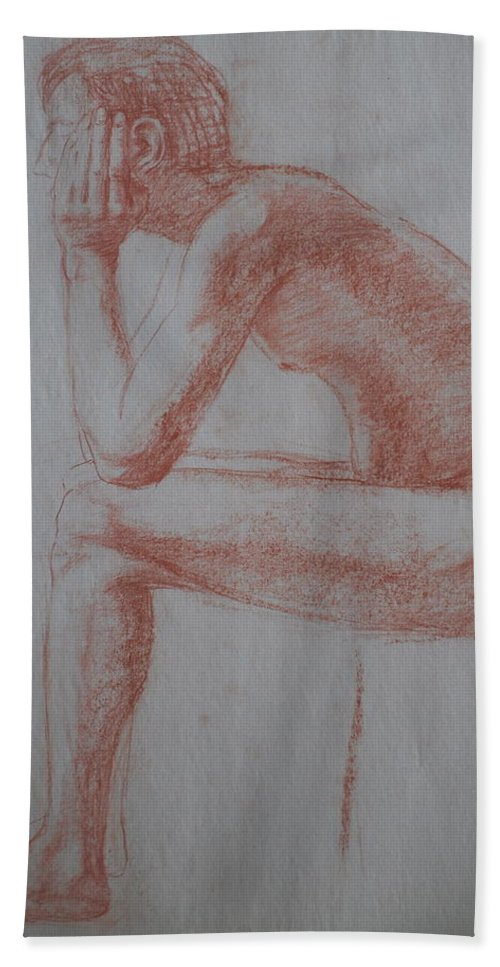 Sitting Nude Bath Sheet featuring the drawing Thinking by Jennifer Christenson