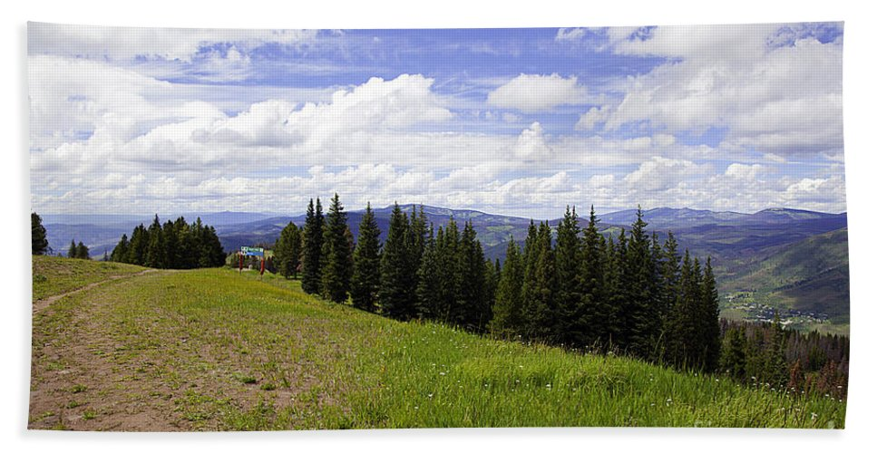 Landscape Bath Sheet featuring the photograph This Way To Eagle Nest - Vail by Madeline Ellis