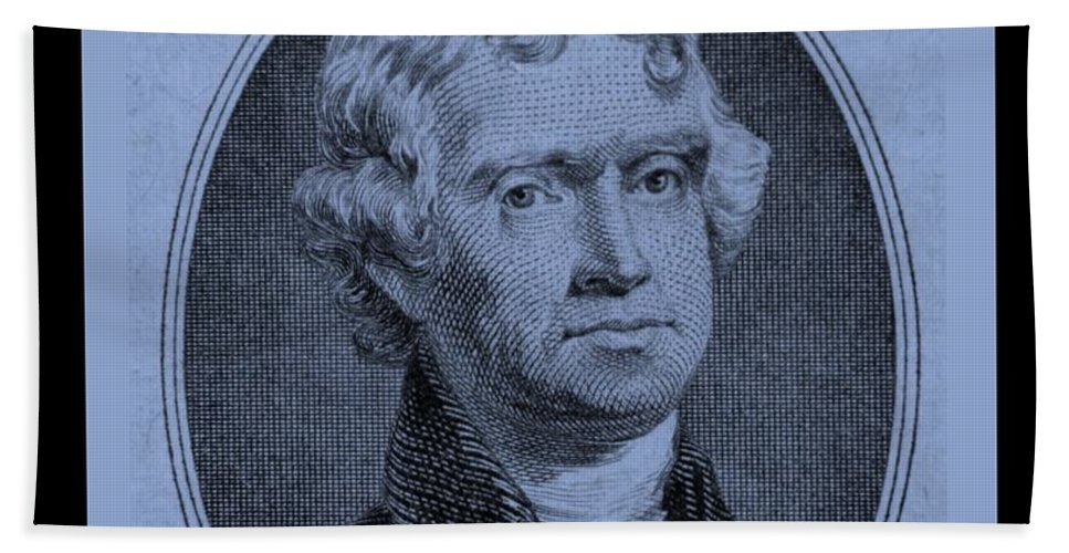 Thomas Jefferson Bath Sheet featuring the photograph Thomas Jefferson In Cyan by Rob Hans