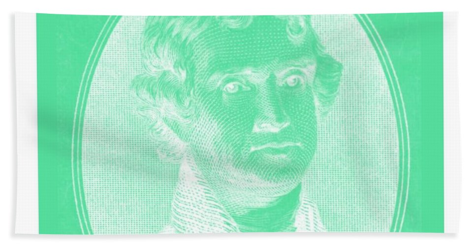 Thomas Jefferson Bath Sheet featuring the photograph Thomas Jefferson In Negative Green by Rob Hans