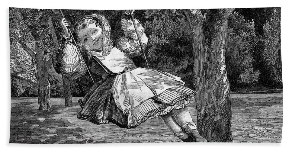 1864 Bath Sheet featuring the photograph Thomas: The Swing, 1864 by Granger