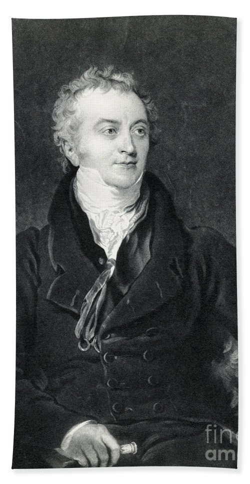 Science Hand Towel featuring the photograph Thomas Young, English Polymath by Photo Researchers