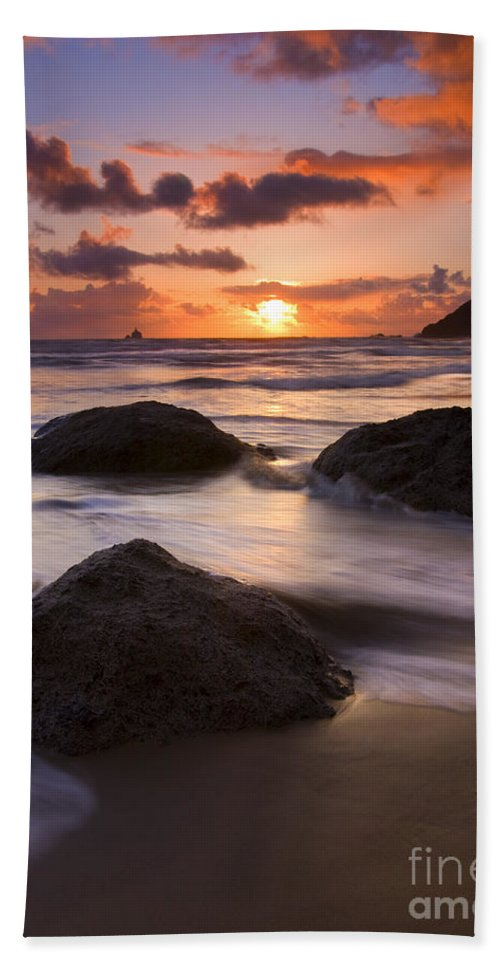 Sunset Bath Sheet featuring the photograph Three Against The Tide by Mike Dawson