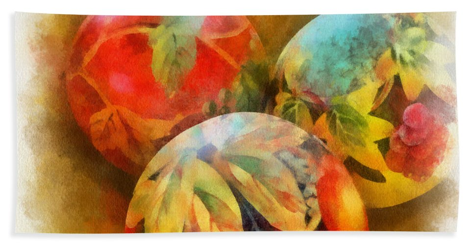 Santa Bath Sheet featuring the digital art Three Balls - Watercolor by Charles Muhle
