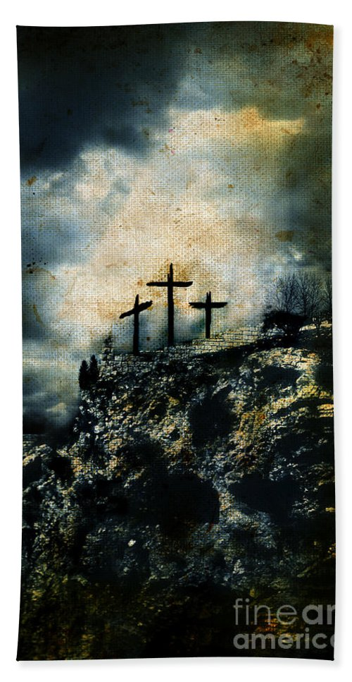 Copy-space Bath Sheet featuring the photograph Three Crosses On Golgotha Grunge Background by Jill Battaglia