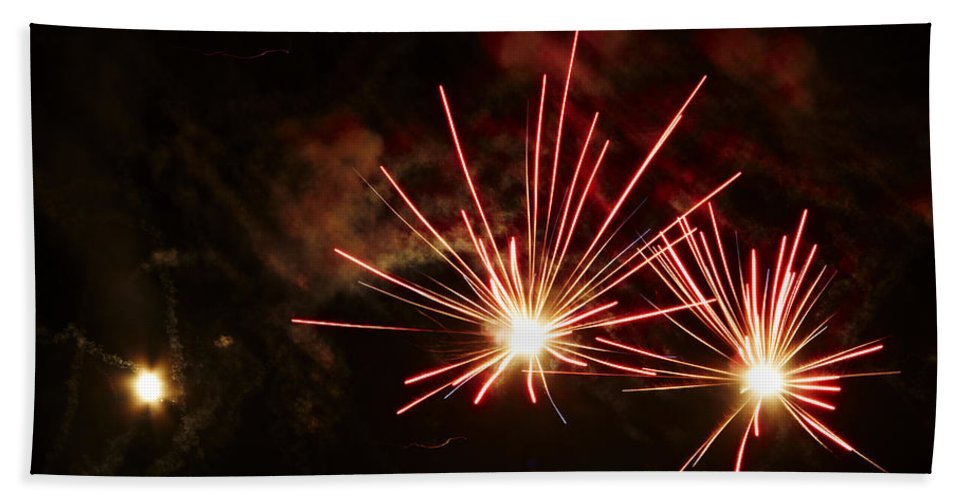 Fuego Bath Sheet featuring the photograph Three Explosions by Agusti Pardo Rossello