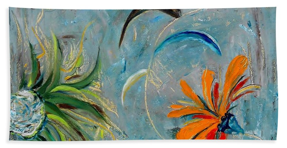 Flower Bath Sheet featuring the painting Three Flowers by Jamie Frier