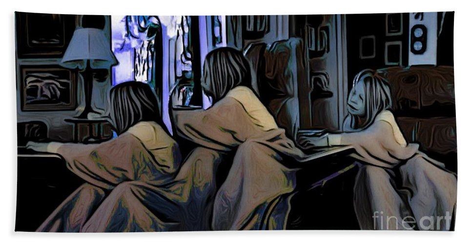 Triplets Bath Sheet featuring the digital art Girl Overtime by Ron Bissett