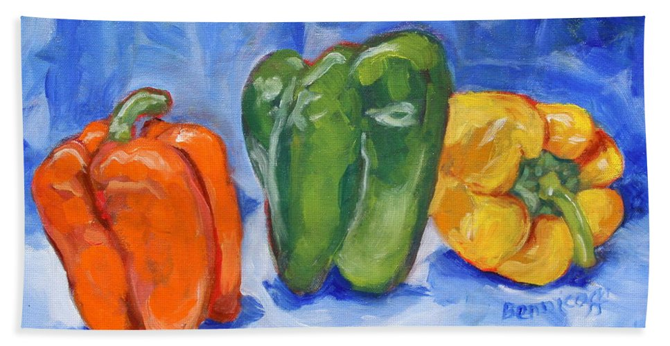 Peppers Bath Sheet featuring the painting Three Peppers by Jan Bennicoff