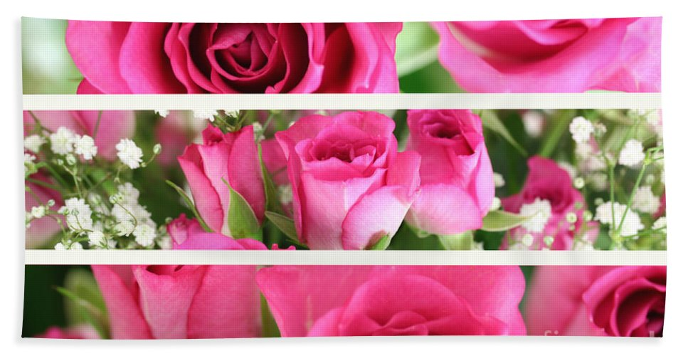 Flower Hand Towel featuring the photograph Three Pink Roses Landscape by Simon Bratt Photography LRPS