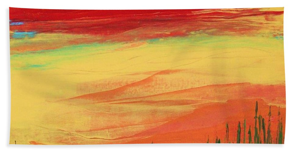 Abstract Bath Sheet featuring the painting Through The Looking Grass by Charlotte Nunn