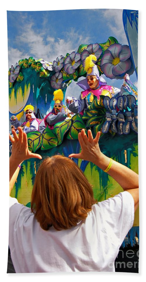 Mardi Gras Bath Sheet featuring the photograph Throw Me Something Mister by Kathleen K Parker