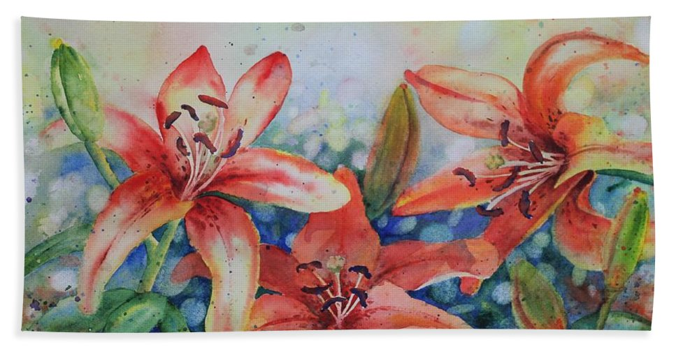 Flowers Hand Towel featuring the painting Tiger Lily by Ruth Kamenev