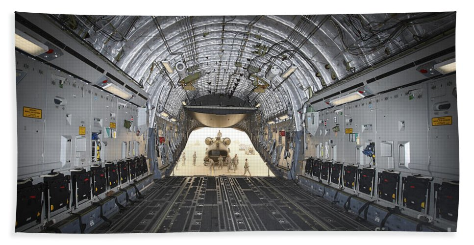 Aviation Bath Sheet featuring the photograph Tikrit, Iraq - A Ch-47 Chinook by Terry Moore