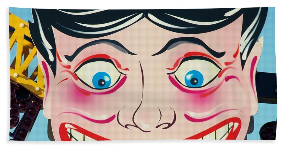 Brooklyn Hand Towel featuring the photograph TILLIE THE CLOWN of CONEY ISLAND by Rob Hans