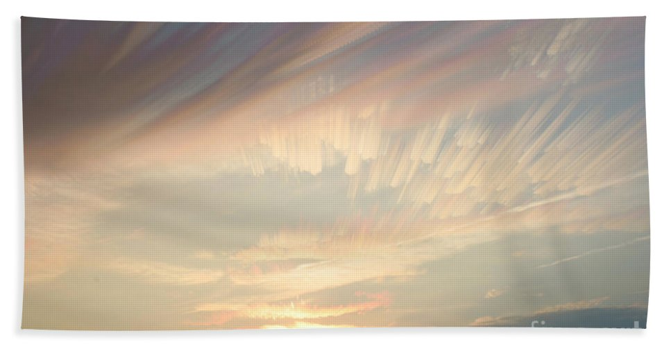 Cloud Hand Towel featuring the Time-lapse Clouds At Sunset by Ted Kinsman