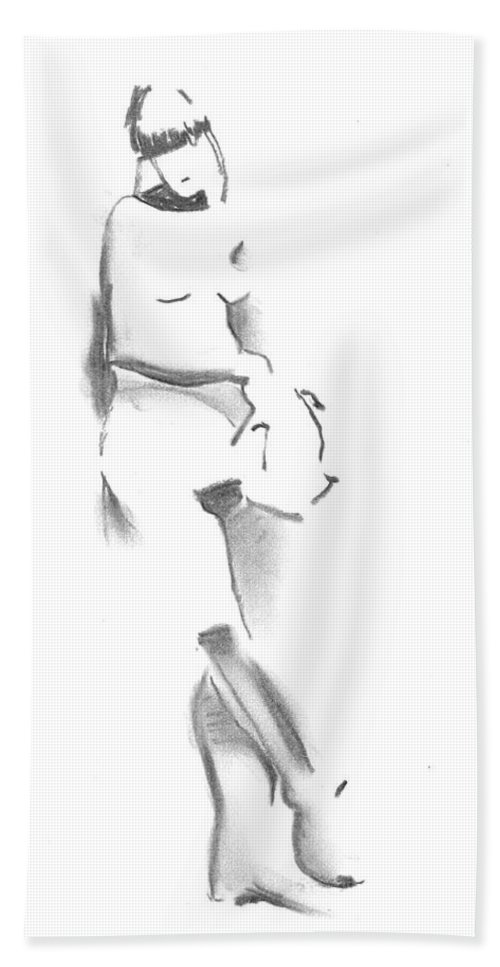 Gesture Drawing Bath Sheet featuring the drawing Timeout Awaiting by Marica Ohlsson