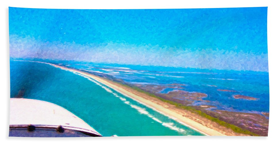 East Bath Sheet featuring the digital art Tiny Airplane Big View II by Betsy Knapp