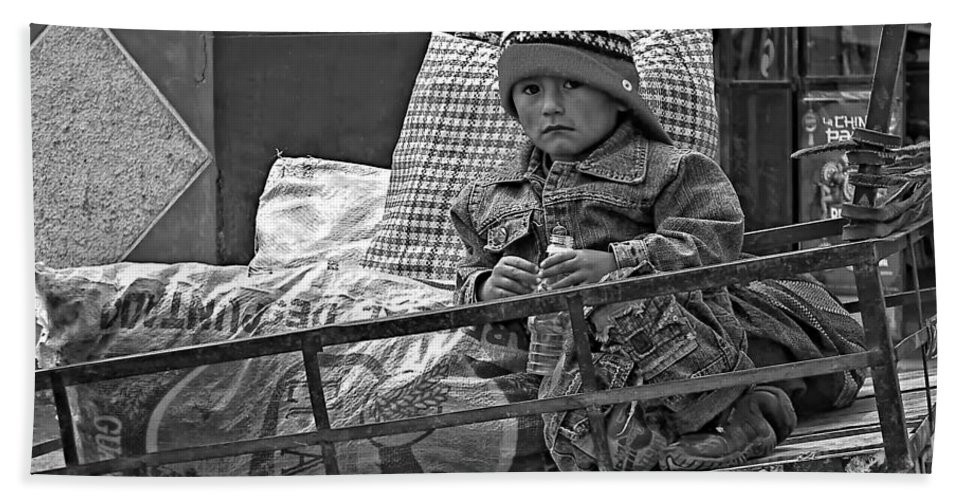 Peru Hand Towel featuring the photograph Tiny Biker 2 Monochrome by Steve Harrington