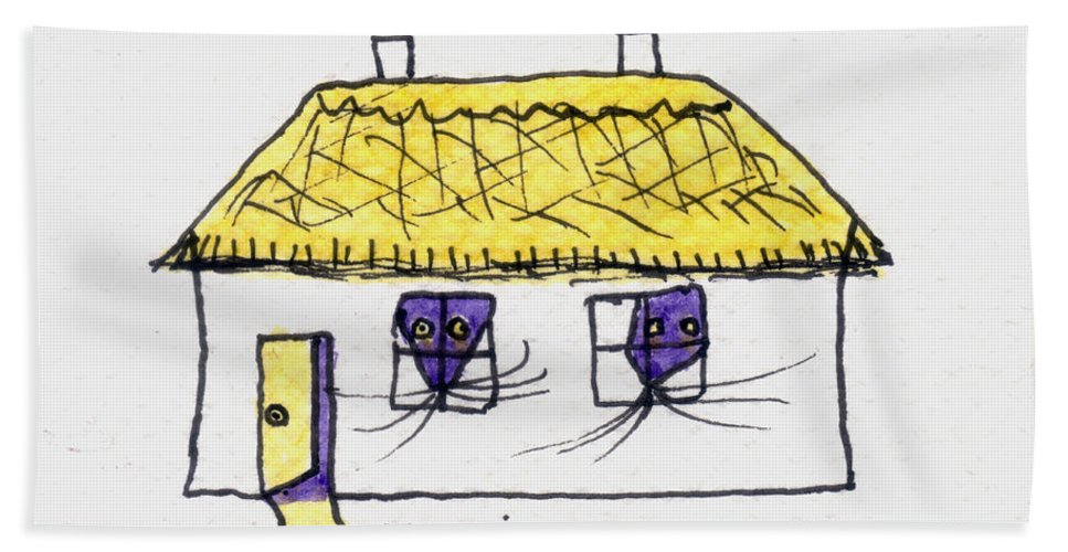 Purple Bath Sheet featuring the painting Tis Gingerbread House by Tis Art