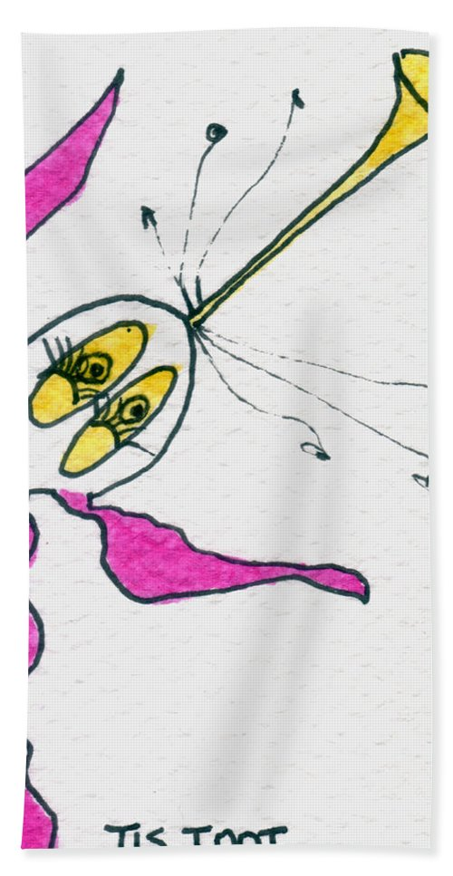 Cat Hand Towel featuring the painting Tis Toot by Tis Art