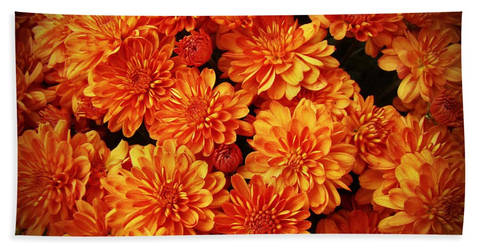 Chrysanthemums Bath Sheet featuring the photograph Toasted Orange Chrysanthemums by Mother Nature