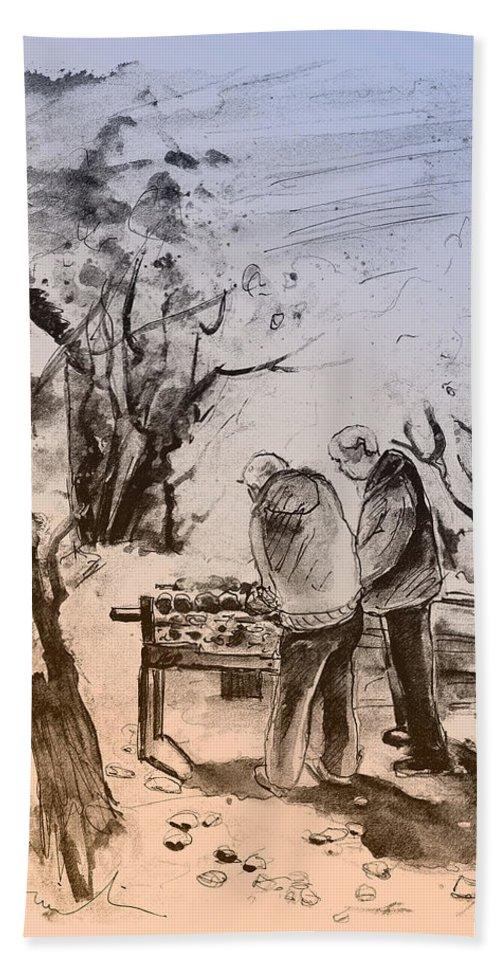 Travel Art Hand Towel featuring the painting Together Old In Cyprus 05 by Miki De Goodaboom