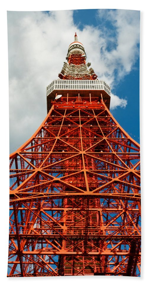 Architecture Bath Sheet featuring the photograph Tokyo Tower Face Cloudy Sky by U Schade