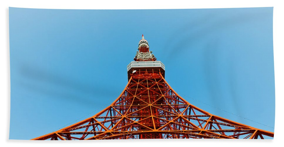 Architecture Bath Sheet featuring the photograph Tokyo Tower Faces Blue Sky by U Schade