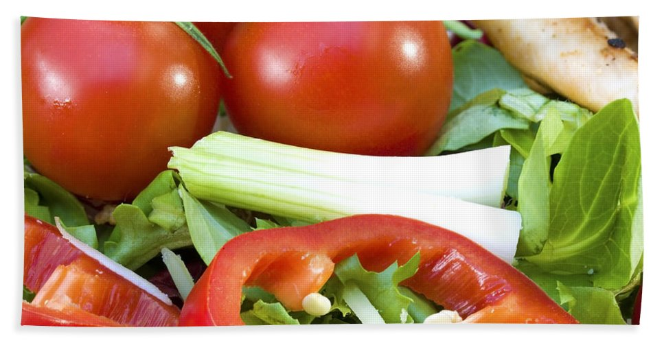 Tomato Hand Towel featuring the photograph Tomato Salad Close Up by Simon Bratt Photography LRPS