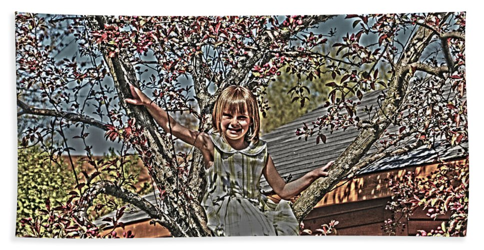 Little Girl In Tree.spring Blossoms Hand Towel featuring the photograph Tomboy In The Tree by Randall Branham