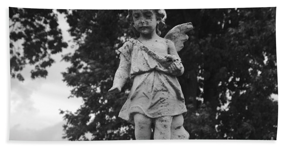 Angel Hand Towel featuring the photograph Tombstone Angel Bw by J M Lister