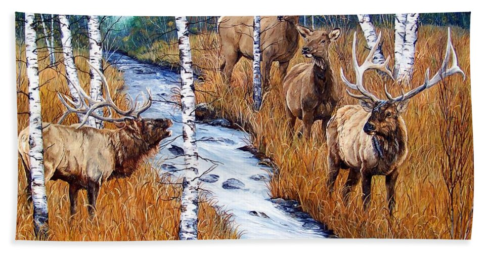 Elk Bath Sheet featuring the painting Too Much Bull by Patti Gilley