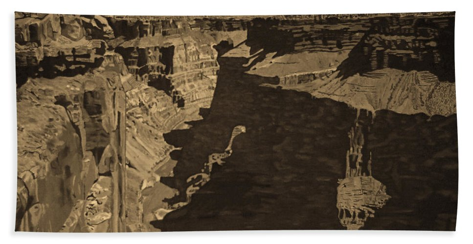 Sepia Bath Towel featuring the photograph Toroweap Point - Sepia by Rich Walter