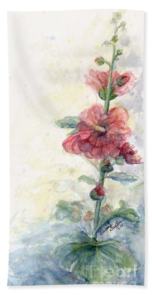Watercolor Hand Towel featuring the painting Touch Of Summer Hollyhocks Watercolor by CheyAnne Sexton